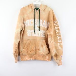 Vtg Champion Michigan State Acid Wash Hoodie Small